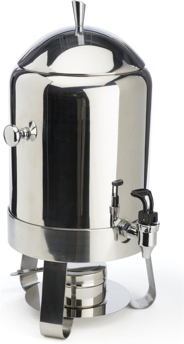 60-cup Coffee Urn with Chafer Fuel Container, 2.9 Gallon Capacity, Hot Beverage Dispenser with Lift-off Lid and Pull-down Lever for Spring Spigot, Stainless Steel Displays2go