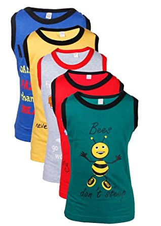 Goodway Gkidz Infants Did You Know Printed Vest T-Shirts Theme-1 Pack of 5 (JB5PCK-VEST-DYK-1-COL_ Multicolor) Boys' T-Shirts at amazon