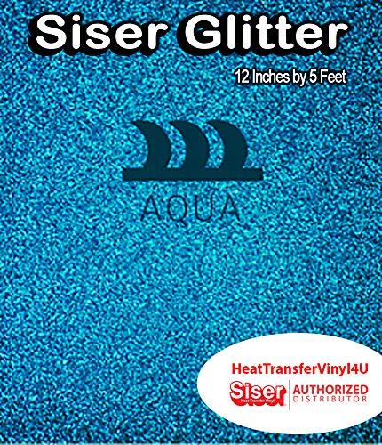 Siser Glitter Iron On Heat Transfer Vinyl 12 Inches by 5 Feet (Aqua)