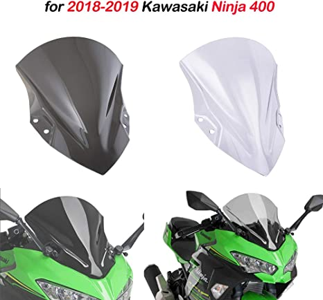 for Kawasaki Ninja 400 2018-2019 Motorcycle PC Plastic Windscreen Windshield Baffle Wind Deflectors With bracket (Smoke)