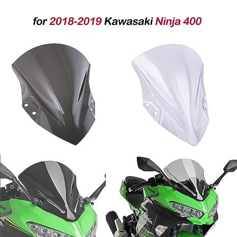 for Kawasaki Ninja 400 2018-2019 Motorcycle PC Plastic Windscreen Windshield Baffle Wind Deflectors With bracket (Light smoke)