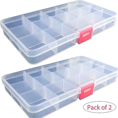 Cajas organizadoras de plástico para joyas, aretes, adornos, pequeños artículos, 15 separadores ajustables extraíbles, paquete de 2: Amazon.es: Juguetes y juegos