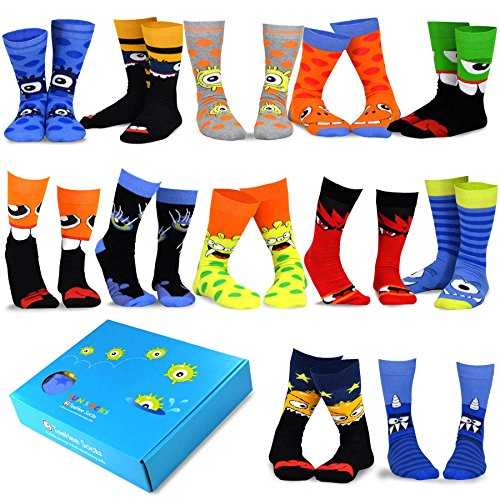 TeeHee Special (Holiday) 12-Pairs Socks with Gift Box (10-13, Fun Halloween-A)