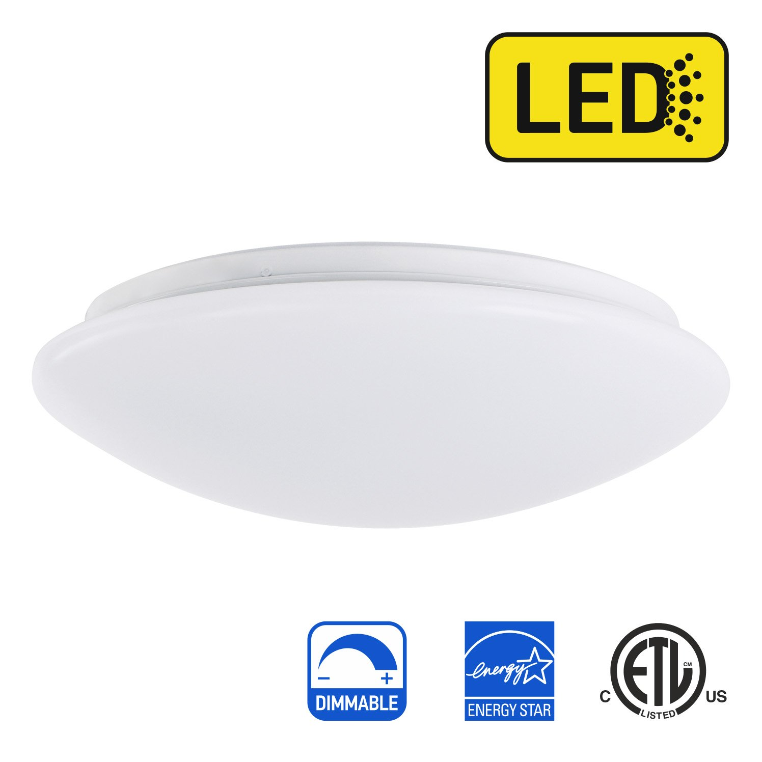 OSTWIN 11-inch LED Flush mount Ceiling Light MS Series 20W (100 Watt equivalent), Dimmable, 3000K (Warm white), 1734 Lumens, White Finish with Acrylic shade, ETL and ENERGY STAR listed