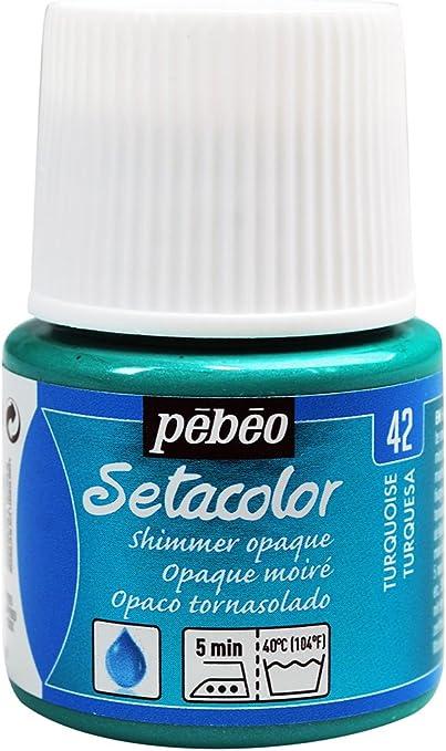 Pébéo 295042 - Tinte Opaco tornasolado Setacolor (1 Bote, 45 ml, Color Turquesa)