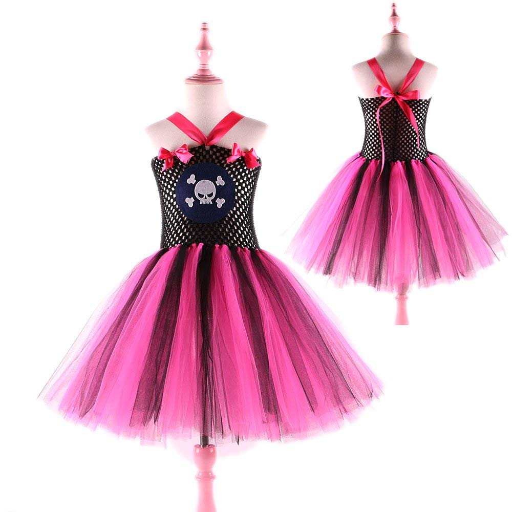 Hot Pink and Black Princess Dress Up Party Dresses Cosplay Outfit Girls Skull Pirate Halloween Costume Tutu Dress