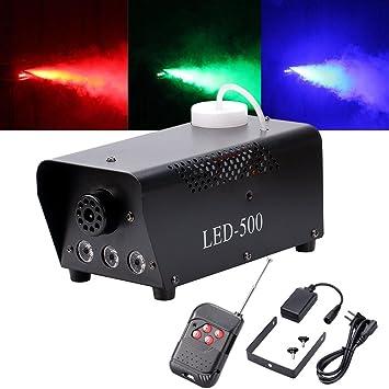 UKing Máquina de humo 500W LED Negro RGB Control Remoto Buena Atmósfera para Varios Festivales Party Bar Disco Clubs Escena de la Boda: Amazon.es: ...
