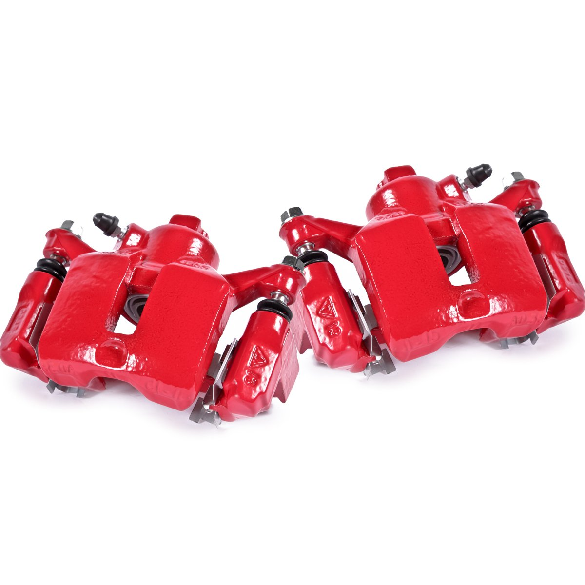 CK01044 [ 2 ] REAR Performance Grade Red Powder Coated Semi-Loaded Caliper Assembly Pair Set