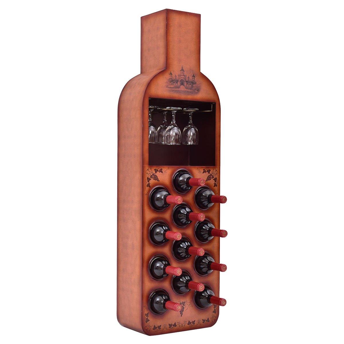 Giantex 12 Bottles Bottle Shaped Wine Rack Cabinet Wood Storage Bar Stand Liquor Shelf HW54837