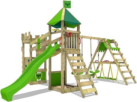 FATMOOSE Parque infantil de madera DazzyDuke Duo XXL con columpio SurfSwing y tobogán, Torre de escalada de exterior con arenero y escalera para niños
