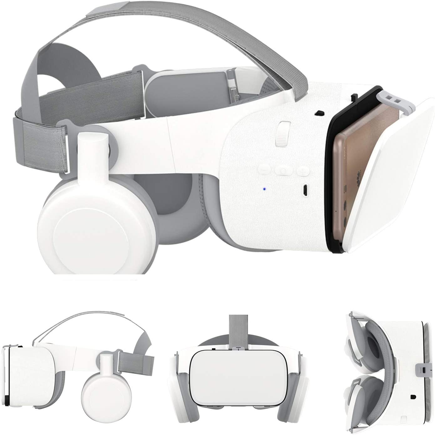 3D VR Glasses/Headset, Virtual Reality Headset Cellphone 3D Movie/Game Viewer [Newest]+Bluetooth Headphones for iPhone 12 Mini 11 Pro Max XS XR X 8 7 6S Plus Samsung Galaxy S20 S10 S9 S8 S7 Edge Plus