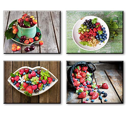 - Kitchen Wall Art for Dining Room, 4 Piece Set Colorful Fruits Canvas Prints of Cherry Strawberry Mulberry Picture, Vintage Wood Rustic Decor (Waterproof Artwork, Bracket Fixed Ready Hanging, 1