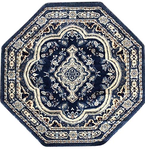 Octagon Rug - emirates Traditional Persian Octagon Rug Dark Blue Light Blue Brown Grey Design 520 (4 Feet X 4 Feet)