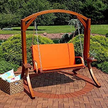 Sunnydaze Deluxe 2 Person Wooden Patio Swing With Burnt Orange Cushions For  Patio, Deck Or