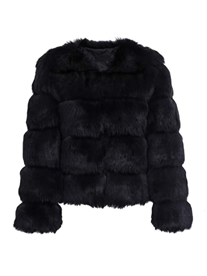 d584e71acab Simplee Apparel Women's Autumn Winter Warm Fluffy Faux Fur Coat Jacket  Outerwear Black 6/Small