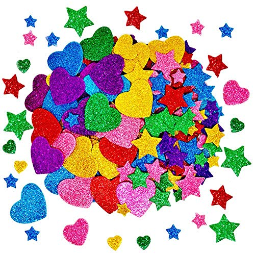 TTSAM 260 Pieces Colorful Glitter Foam Stickers Self Adhesive Stars Mini Heart Shapes Glitter Stickers, Kid