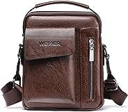 Genfien Leather Sling Bag Men's Shoulder Bag Small Genuine Leather Bag, BULLCAPTAIN Genuine Leather Bag, Vintage Lightweight