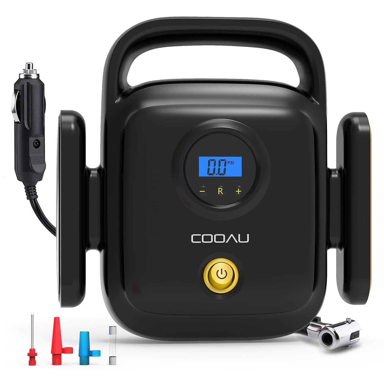 COOAU Compresor de Aire Portátil Eléctrico, 12v con Pantalla LCD y Luz LED Presión Máxima 150psi 3 Adaptadores Boquilla Apto para Vehículos, Neumáticos, ...