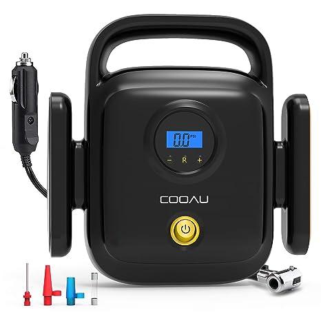 COOAU Compresor de Aire Portátil Eléctrico, 12v con Pantalla LCD y Luz LED Presión Máxima