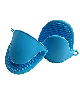RKPM 2 Pcs Silicone Pinch Grip Mitten Oven Mitt Gripper Grip Kitchen Potholder Utensil Tool 1 Set Blue