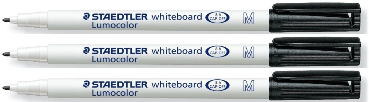Pack of 3 Drywipe From Smooth Surfaces Glass Porcelain Staedtler Black Lumocolor Medium 1mm Whiteboard Board Markers Pens