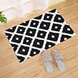 JANNINSE Abstract Geometric Zig Zag Cross Plaid Black And White Stripes Door Mat, Polyester Fiber Entry Carpet Shoe Scraper Super Grip Rubber Backing Slip