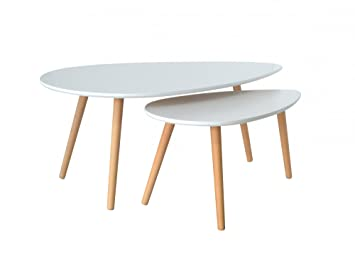 San Francisco 9706c 9ca81 Mobilier Deco Table Basse gigognes scandinave Karen Blanc