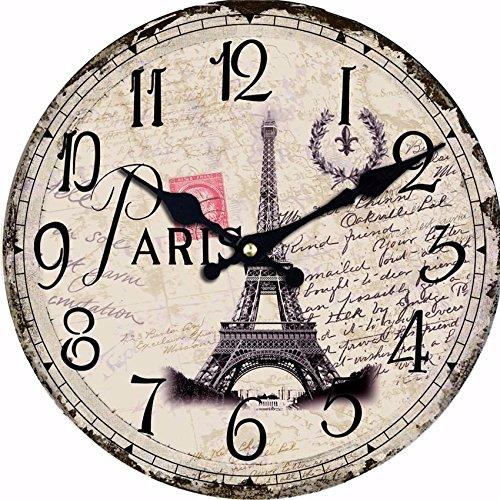 Moonluna Vintage Paris Eiffel Tower Wood Wall Clock Ticking Silent Shabby Chic Home Office Cafe Decoration Watch Clock 14 (Walnut Wine Tower)