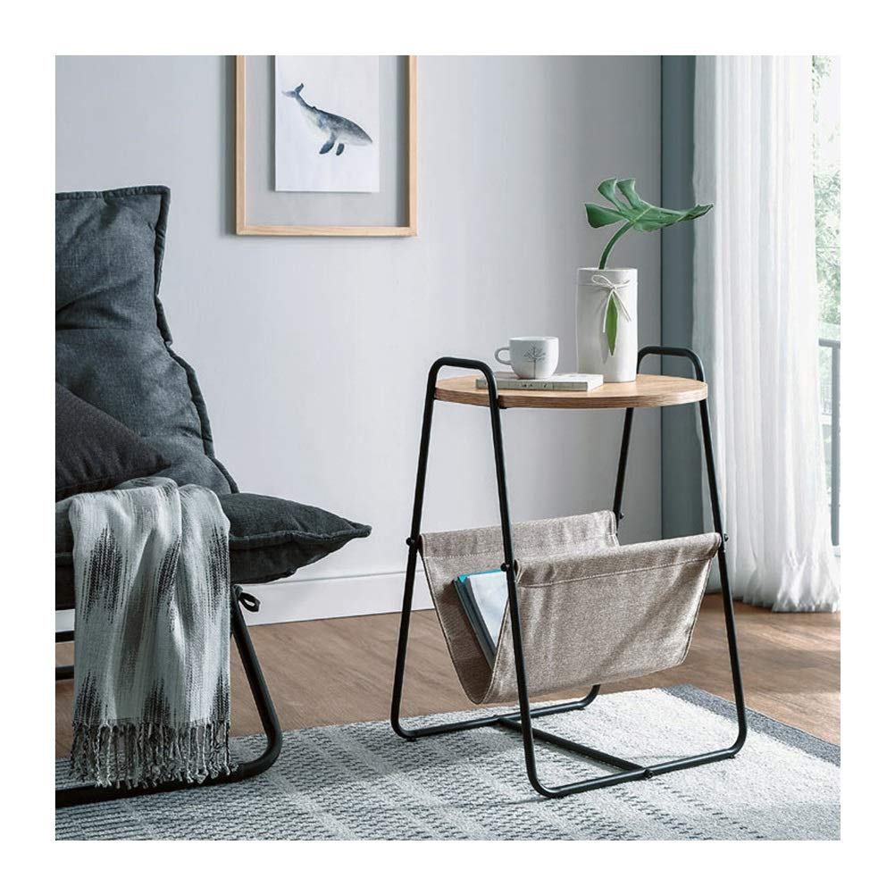 End Tables Nordic Style Creative Metal Small Round Coffee Table Modern Simple Corner Rack 0711 (Color : Black) by End Tables