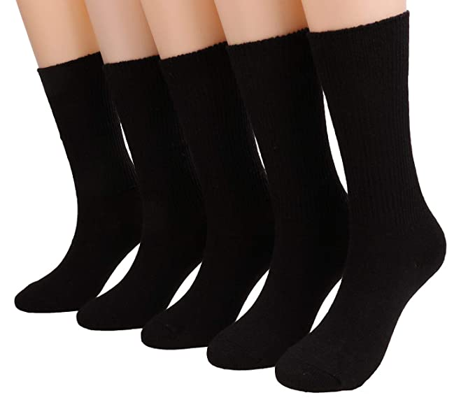 aff9358dd19 5 Pairs Womens Winter Comfortable Warm Knit Cotton Crew Socks Black WA01  (5pcs black)