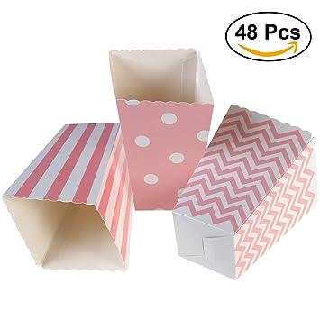 NUOLUX 48pcs Popcorn Boxes bolsa de palomitas caja palomitas de maíz rayas de color rosa: Amazon.es: Juguetes y juegos