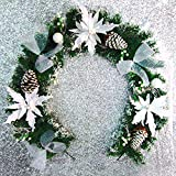Funpa 6.56ft Christmas Garland Artificial Frosted Pine Garland Christmas Hanging Ornament Xmas Decoration