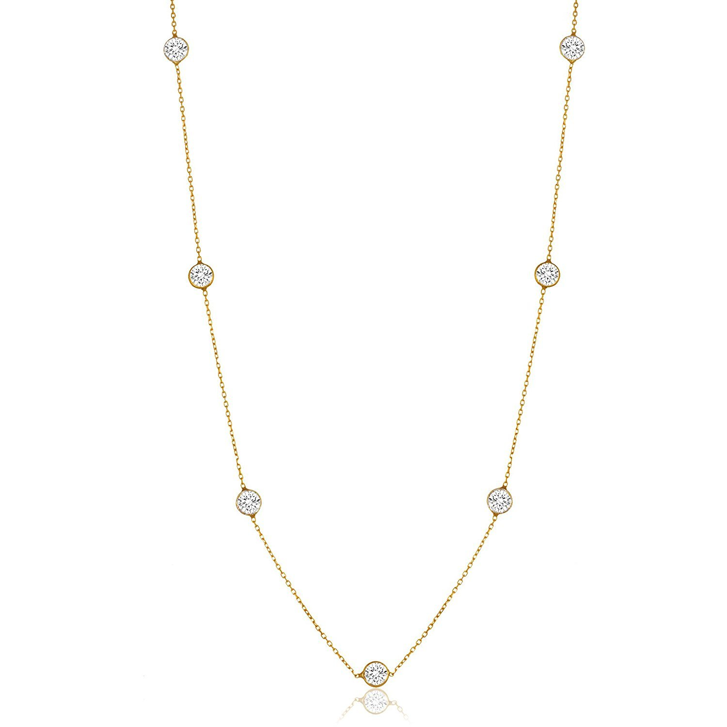 NYC Sterling Women Gold Plated Sterling Silver 3MM Round Cubic Zirconia Station Necklace 16''-30'' (16)