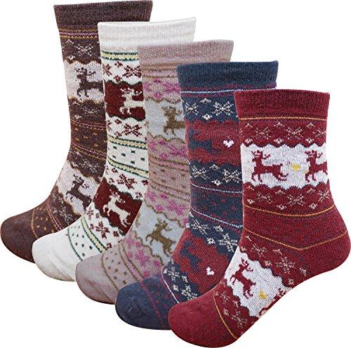 Women's 5 Pack Fall-Winter Deer Pattern Cotton Blend - Blends Pattern Cotton Deer