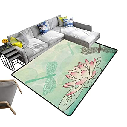 Amazoncom Lotus Flower Home Custom Floor Mat Exotic Blossom With
