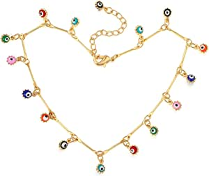 Colrov Cute Layered Anklets for Women 14k Gold Woman Charm Beaded Dainty Ankle Bracelet