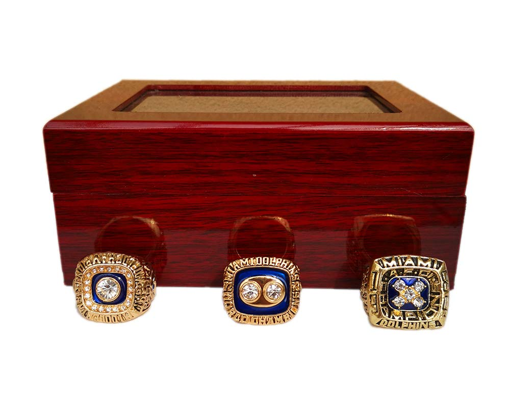 Gloral HIF Miami Dolphins Championship Rings Set 1972 1973 1984 Football Rings with Display Wooden Box