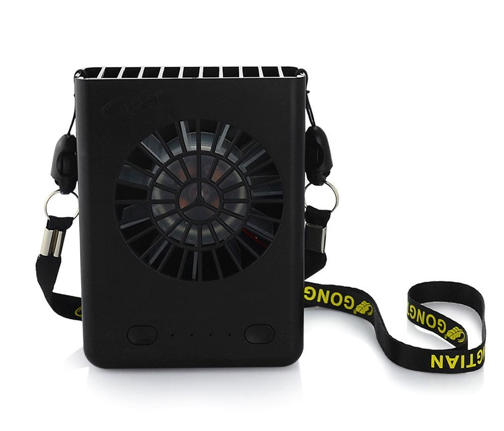 Black TAKSON Portable Hanging Neck Fan USB Rechargeable Necklace Fan 3 Speeds Personal Fan with String for Outdoors Travel Office