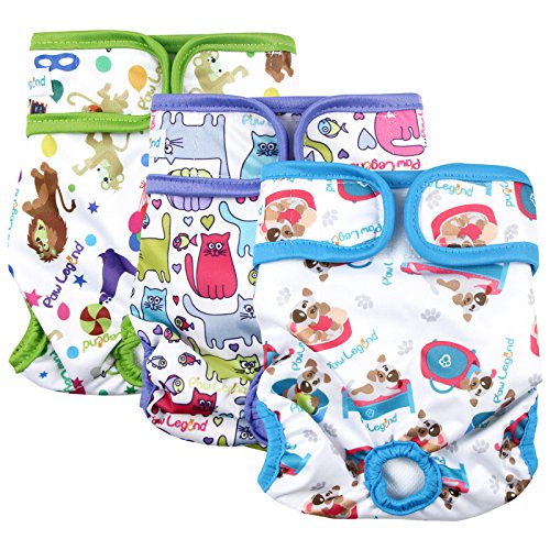 Paw Legend Reusable Female Dog Diapers(3 Pack,Adorable,Large)