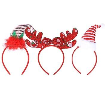 TOYMYTOY 3 unids Navidad Santa Claus Sombrero Diadema Navidad Pelo aro  Sombreros Fiesta de Navidad Vestido 00aa22ced24