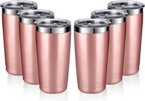 Amtidy 20oz Travel Tumbler with Splash Proof Lid, 6 Pack Stainless Steel Vacuum Insulated Double Wall Thermal Cup, Durable Powder Coated Insulated Coffee Mug(Rose Gold)