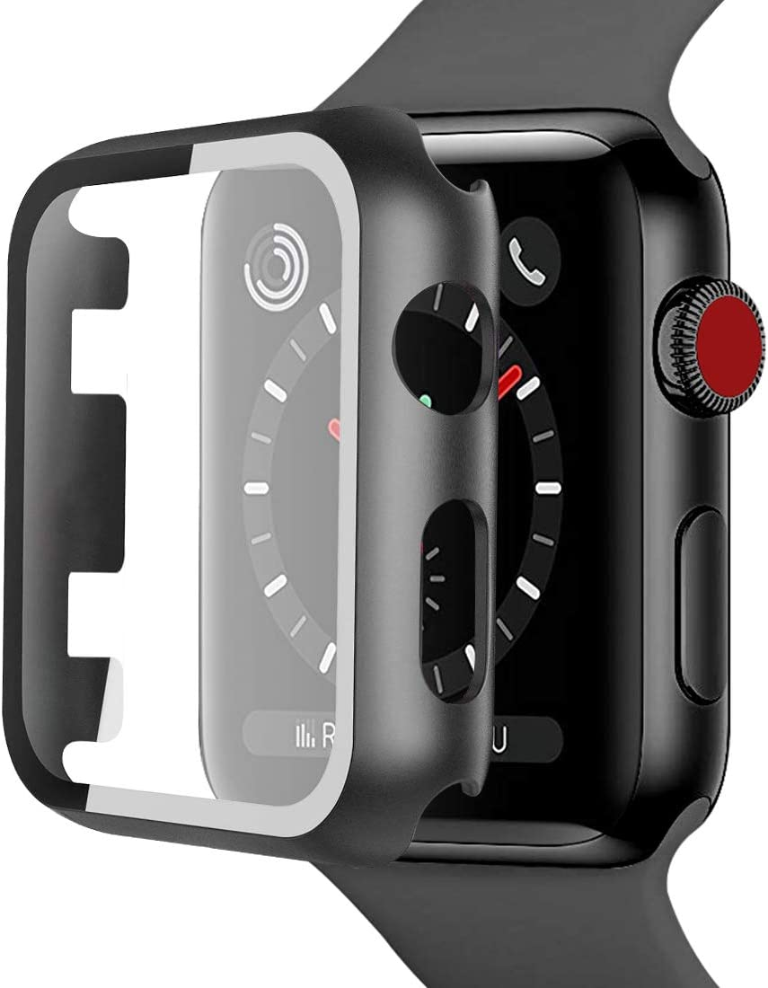 iiteeology Compatible with Apple Watch 42mm, Full Case with Built in Clear Tempered Glass Screen Protector for iWatch 42mm Series 2 Series 3