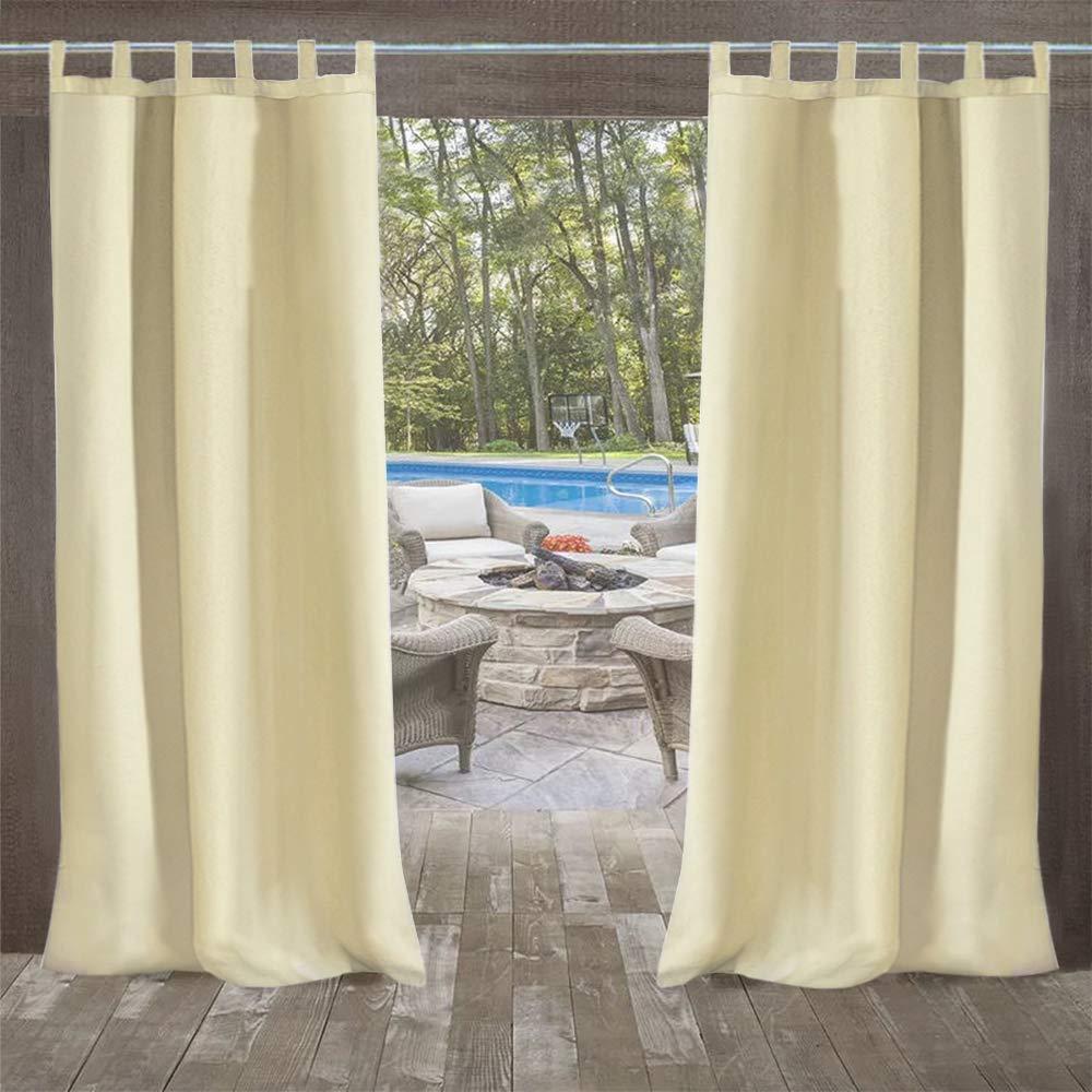 UniEco Cortina para Exteriores Cierre de Velcro, para balcón, Resistente al Agua, Resistente a la harina, para cenador, 1 Pieza, 132 x 215 cm, Color Beige: ...