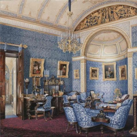 Oil Painting 'Hau Edward Petrovich,Interiors Of The Winter Palace,The Boudoir Of Grand Princess Maria Alexandrovna,1807-1887' Printing On High Quality Polyster Canvas , 18x18 Inch / 46x46 Cm ,the Best Basement (Dracula Pocket Princess Costumes)