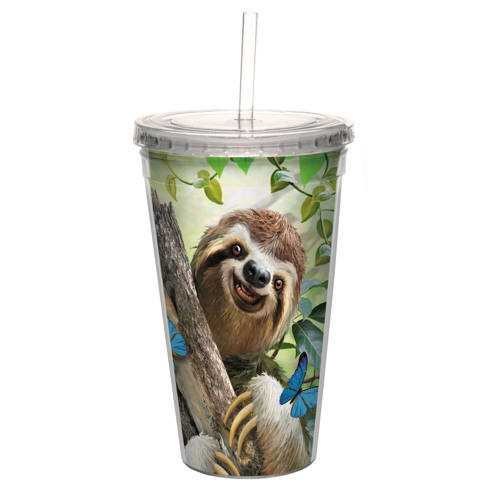 Tree-Free Greetings CC98903 Cool Cups, Double-Walled Pba Free with Straw and Lid Travel Insulated Tumbler, 16 Ounces, Sloth Selfie