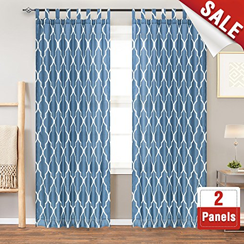 Blue Lattice Top (Moroccan Tile Printed Bedroom Curtains 84 Inches Length Quatrefoil Print Water-repellent Tab Top Lattice Canvas Curtain Panels for Living Room, 2 Panels, Blue)
