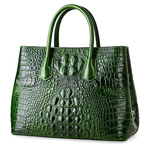 PIFUREN Women's Crocodile Embossed Handbags Genuine Leather Top Handle Purses E72110(Big Size, Green) by PIFUREN (Image #2)