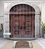 Unique Custom Bathroom 2-Piece Set Rustic Decor Arched Wooden Venetian Door With Islamic Royal Ottoman Elements European Culture Decor Brown Shower Curtains And Bath Mats Set, 79''Wx71''H & 31''Wx20''H