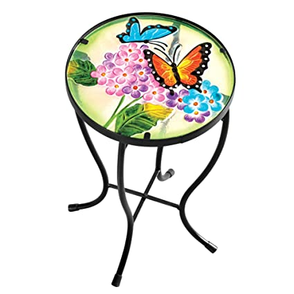 Genial Collections Etc Garden Butterfly Glass Table