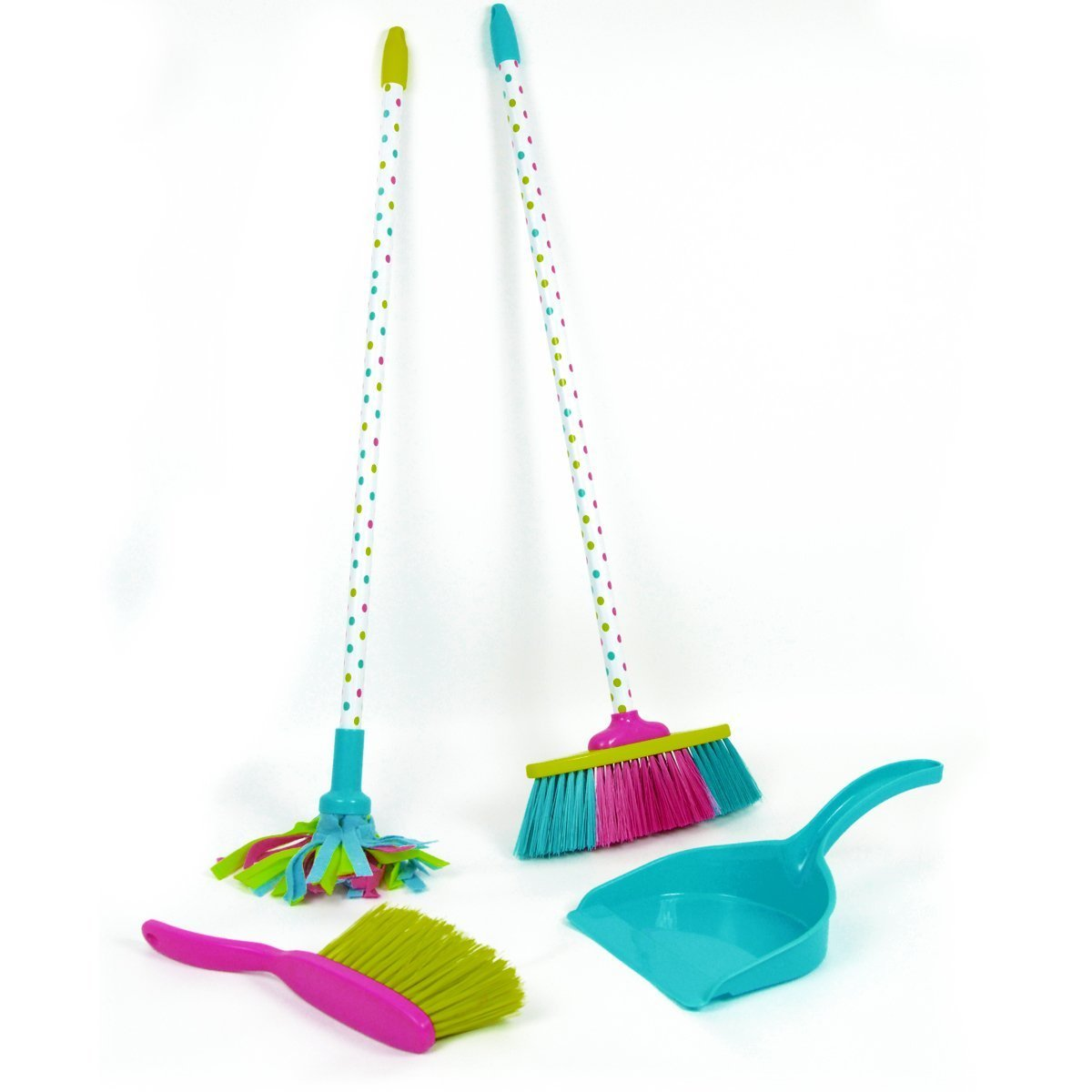 Playkidz PKCS001 Pretend Play Kids Cleaning Set-Includes Broom, Mop, Dustpan, and Brush